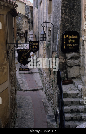 Street with signs in Eze, Provence. - Stock Image