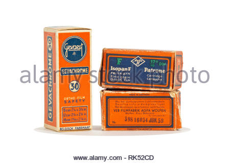 Vintage 1950s Agfa and Gavaert film cartons. - Stock Image