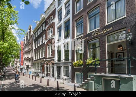 Seven Bridges Hotel, Facade, Amsterdam, Netherlands - Stock Image