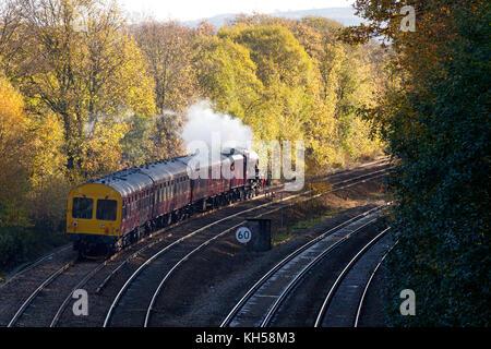 Steam train excursion on the Calder Valley line, Sowerby Bridge, West Yorkshire - Stock Image