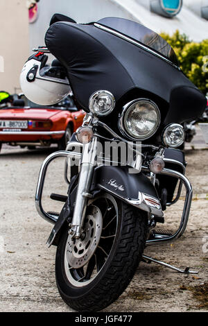 Front of Harley Davidson Electra Glide - american motorcycle. - Stock Image