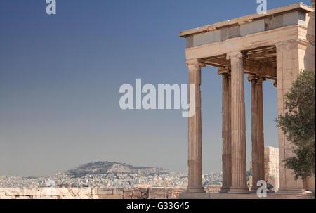 Erechteion on the Acropolis in Athens, Greece - Stock Image
