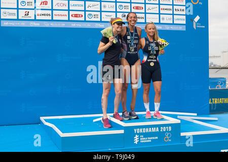 Yokohama, Japan. 18th May, 2019. 2019 ITU World Triathlon, World Paratriathlon Yokohama at Yamashita Park and Minato Mirai, Yokohama. Norman, Cashmore, Lemoussu (Photos by Michael Steinebach/AFLO) Credit: Aflo Co. Ltd./Alamy Live News - Stock Image