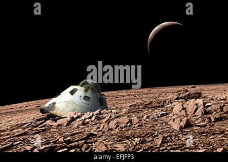 A scorched space capsule lies abandoned on a barren and airless moon. - Stock Image