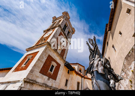 Italy Lombardy Unesco World heritage Site - Sacro Monte di Varese ( Varese sacred Mount ) - sanctuary of Santa Maria al Monte and statue of Paolo VI - Stock Image