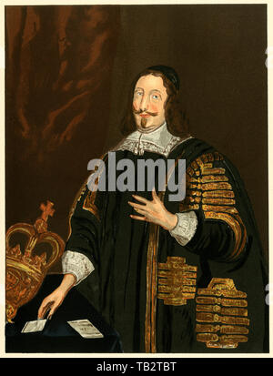 William Lenthall, Speaker of the House of Commons, 1600s. Color lithograph from a copy by Thomas Athow in the Bodleian Library - Stock Image