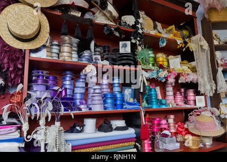 Colourful goods on display in the Draper's shop, Blists Hill Victorian Town, Shropshire, UK - Stock Image