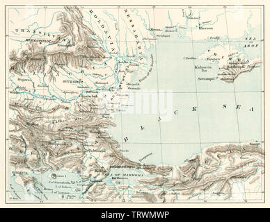 Map of the seat of the Crimean War, 1854-1856. Color lithograph - Stock Image
