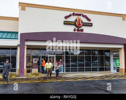 HICKORY, NC, USA-1/3/19:  East Coast Wings & Grill is an American grill chain specializing in chicken wings. - Stock Image