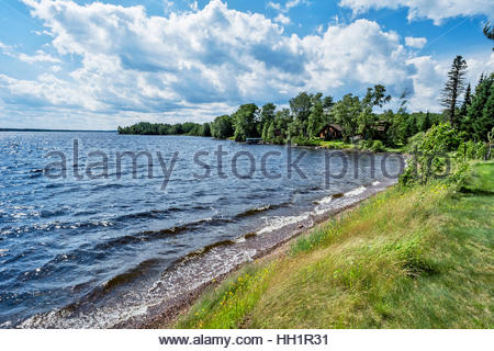 Cabins by Devil Track Lake, northern Minnesota - Stock Image