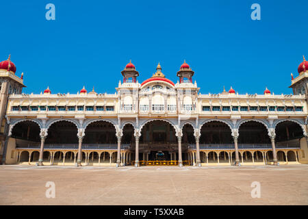 Mysore Palace is a historical palace and a royal residence at Mysore in India - Stock Image