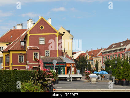 shop and buildings in the centre of Sopron, Hungary - Stock Image