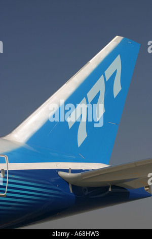 Tail fin of Boeing 777 Worldliner - Stock Image