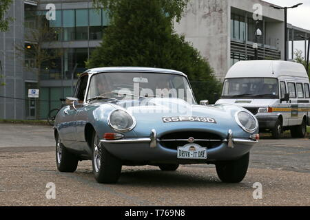 Jaguar E-Type S1 Coupe (1966), British Marques Day, 28 April 2019, Brooklands Museum, Weybridge, Surrey, England, Great Britain, UK, Europe - Stock Image