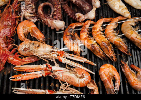 Seafood on a BBQ - Stock Image