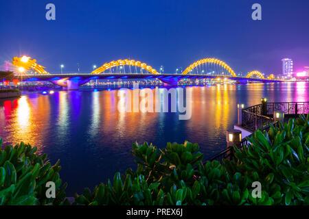 A night view of the Dragon Bridge (Cau Rong) , Da Nang, Vietnam - Stock Image