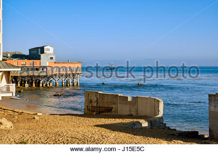 The Fish Hopper Restaurant offers seafood and steaks with a view of Monterey Bay. - Stock Image