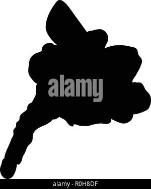 Snowboarder man silhouette. Black on white.  Vector illustration. - Stock Image