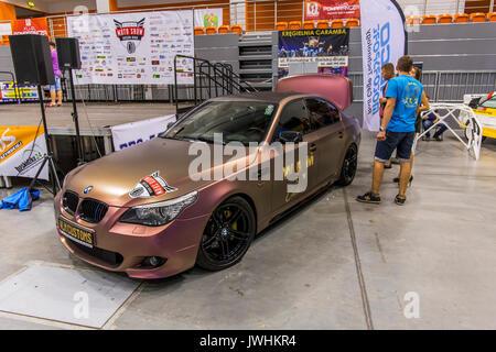 Bielsko-Biala, Poland. 12th Aug, 2017. International automotive trade fairs - MotoShow Bielsko-Biala. BMW E60 parked on the hall. Credit: Lukasz Obermann/Alamy Live News - Stock Image