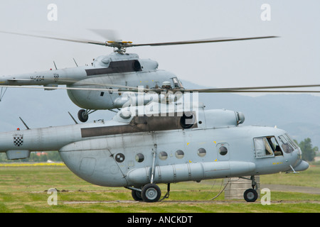 Croatian Air Force Mi-8 MTV-1 helicopters taking off - Stock Image