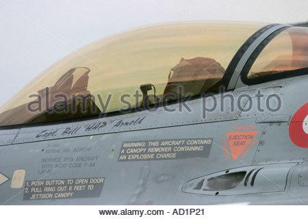 Zeltweg 2005 AirpPower 05 airshow Austria, Fighting Falcon F16 cockpit - Stock Image
