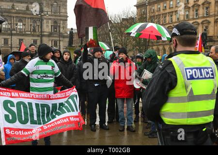 George Square, Glasgow, UK. 16th March 2019.16th March, 2019. George Square, Glasgow, Scotland, UK. Socialist party Solidarity protest against the inclusion of the Confederation of Friends of Israel in Scotland in the 'Stand up to Racism' demo. Credit: Douglas Carr/Alamy Live News - Stock Image