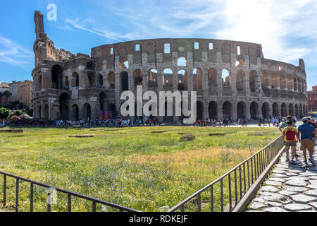 Rome, Italy - 24 June 2018: Facade of the Great Roman Colosseum (Coliseum, Colosseo), also known as the Flavian Amphitheatre. Famous world landmark. S - Stock Image