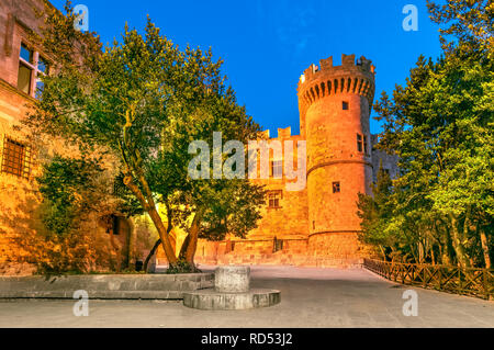 Rhodes, Greece - Palace of the Grand Master of the Knights of Rhodes, night scene. - Stock Image