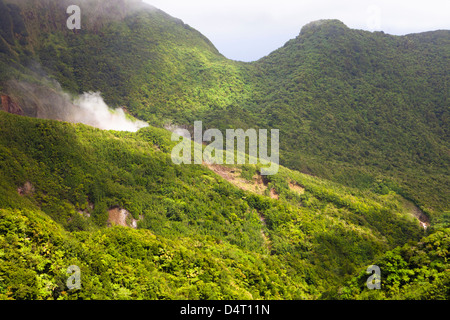 View of the Boiling Lake and Morne Trois Pitons National Park, Dominica - Stock Image