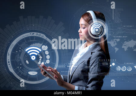 smart city and wireless communication network - Stock Image
