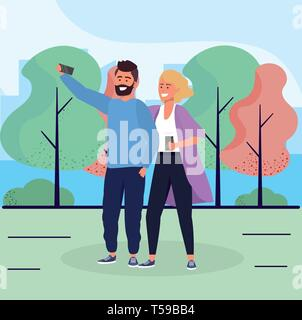 woman and man couple with smartphone together vector illustration - Stock Image
