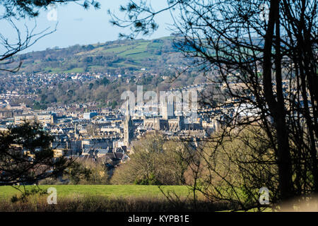 View of the beautiful historic city of Bath from Bathwick Hill with the Abbey and Georgian buildings in the distance - Stock Image