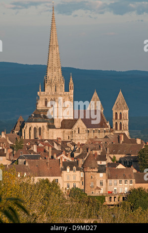 Saint Nazaire Cathedral Autun Burgundy France with gothic spire seen from Rue de Planoises in the morning - Stock Image
