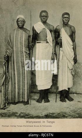 Tanzania - Three Nyamwezi Men - a Bantu tribal group - the 2nd largest in Tanzania. - Stock Image