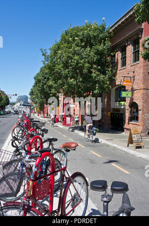 Bicycles and cyclists in the bike lane on Pandora avenue in Victoria, British Columbia, Canada.  Victoria BC. - Stock Image