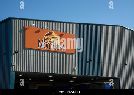 A Mornflake sign on a building in Crewe UK - Stock Image