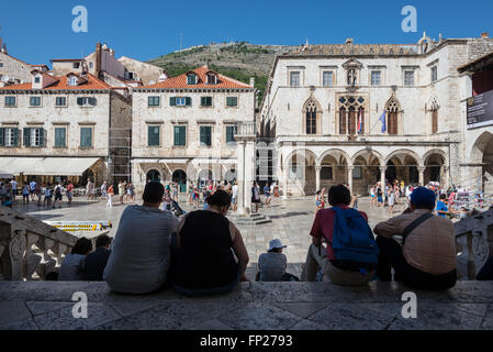 Luza Square with Sponza Palace (Divona) building (on right side) on the Old Town of Dubrovnik city, Croatia - Stock Image