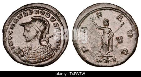 Roman bronze coin. Probus Antoninianus (AD 276-282) Reverse: Pax - Stock Image