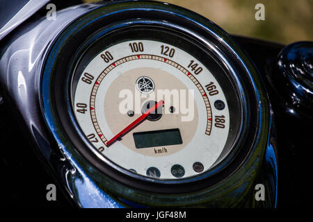 Speedometer on a motorcycle's dashboard. - Stock Image