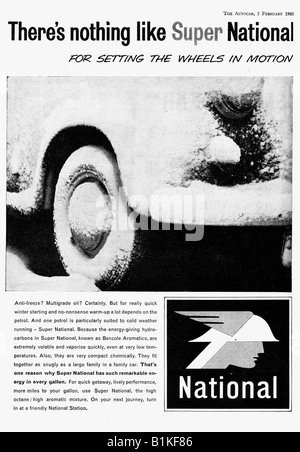 1960 advertisement for Super National Petrol Gasoline Benzene  FOR EDITORIAL USE ONLY - Stock Image