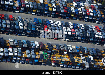 Aerial view of car wrecking yard Brisbane Australia - Stock Image