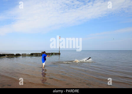 Woman throwing a ball for a dog on Heacham beach. - Stock Image