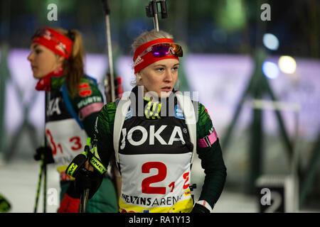 Hanna-Michele Hermann. The German Team Challenge takes place during the JOKA Biathlon WTC auf Schalke featuring young German biathlethes. - Stock Image