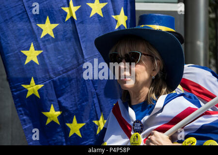 London, UK. 23 June 2018. Remain supporters and protesters gather in Pall Mall for an Anti-Brexit March and Rally. Photo: Bettina Strenske/Alamy Live News - Stock Image