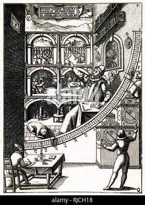 Tycho Brahe at work in his observatory at Uranienborg, Sweden 1576 - Stock Image