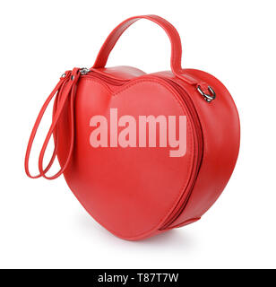 Red heart leather handbag isolated on white - Stock Image