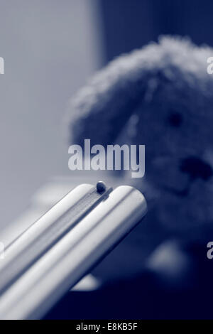 A small plush dog is faced with the muzzle of a gun. Black and white photograph, tinted blue. - Stock Image