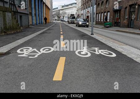 Cycle road in Lars Hilles Gaten, Bergen Norway. - Stock Image