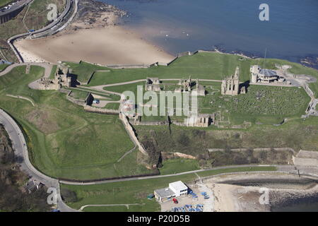 An aerial view of Tynemouth Castle and Priory, North East England. - Stock Image