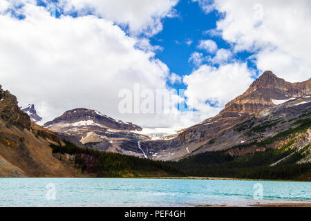 Bow Glacier with waterfall and Bow Lake at Banff National Park in Alberta, Canada. - Stock Image